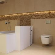 Vorwandinstallation an der Badewanne mit eingelassenem Fach für WC Bürste und Rolle